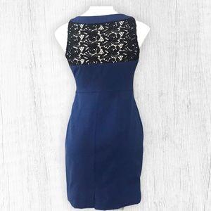 Sleeveless Blue Dress with black crochet back